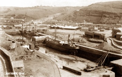 Portreath, with the inclined plane in the far background