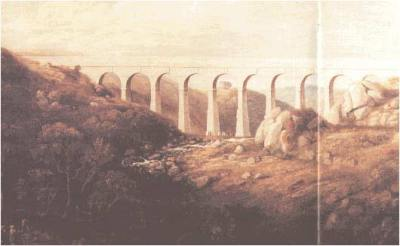 Treffry Viaduct as it looked soon after completion