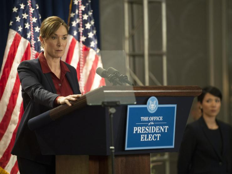 President Elizabeth Keane, played by actress Elizabeth Marvel, stands at a podium in an episode of 'Homeland.'