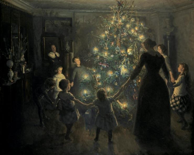 Painting of a family dancing around a Christmas tree.