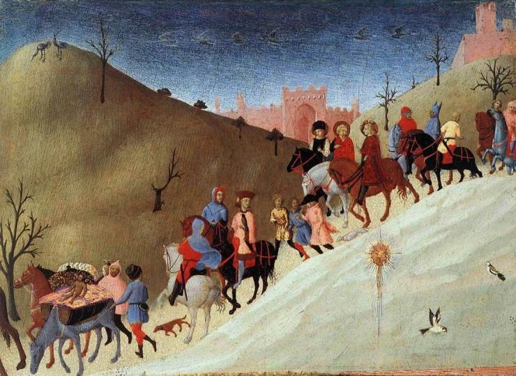 Painting of the wise men travelling through desert.
