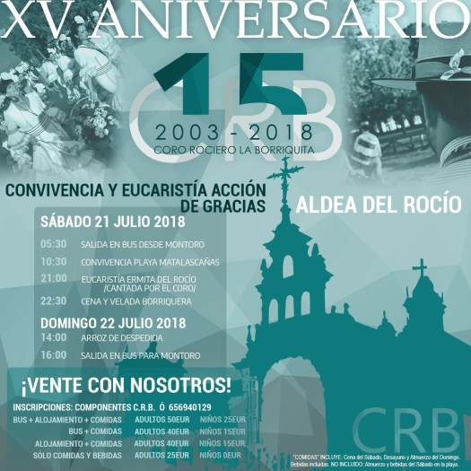 xv aniversario coro borriquita peregrinacion rocio