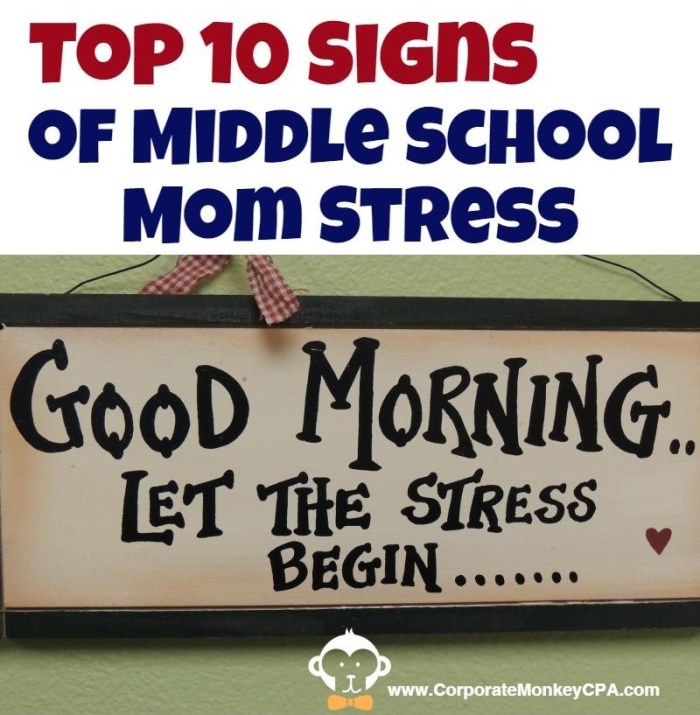 Top 10 Signs Middle School Mom Stress