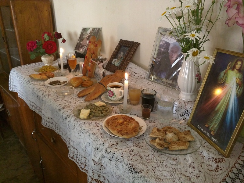An offering table for the recently deceased - Day of the Dead in Bolivia