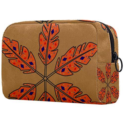 Trousse cosmétique avec feuilles rouges avec racines adorables sacs de maquillage spacieux Voyage Trousse de toilette Organisateur