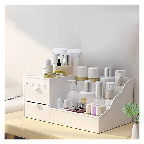 Boîte de Rangement de Maquillage LED Miroir Maquillage Organiser Une boîte de Salle de Bain de Grande capacité Maquillage boîte de Rangement boîte Vernis à Ongles (Color : White, Size : 36x22x17CM)