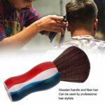 Brosse de balayage de cheveux cassés, brosse anti-statique de balayage de cou de cheveux de fibre de poignée en bois(#1)
