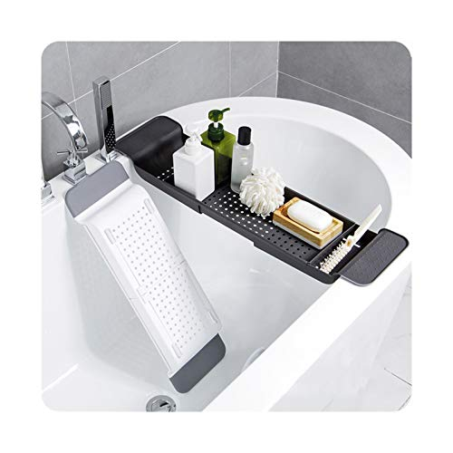 KJGHJ 1 Pc Plateau en Plastique Baignoire Douche Organisateur Support De Rangement for Salle De Bains Toilettes Baignoire Caddy Plateau (Color : Dark Grey)