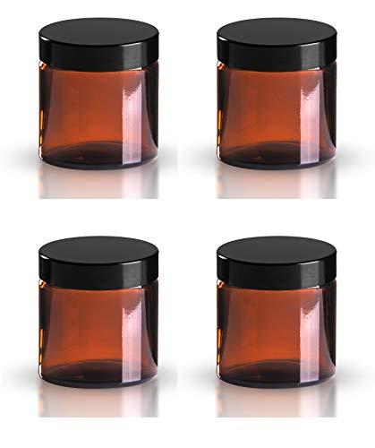 Lot de 4 x 120ml verre ambré produits de beauté Bocaux avec noir couvercles. approprié pour l'aromathérapie, Crèmes, Gels, Sérums, Cire, Onguents etc