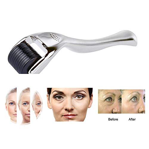 Microneedle Derma Roller,0.5mm,540 Micro Needle Roller,pour Stimule Repousse Cheveux/Pousse Barbe,réduit La Perte De Cheveux,Visage Soin De La Peau,Argent,0.20mm