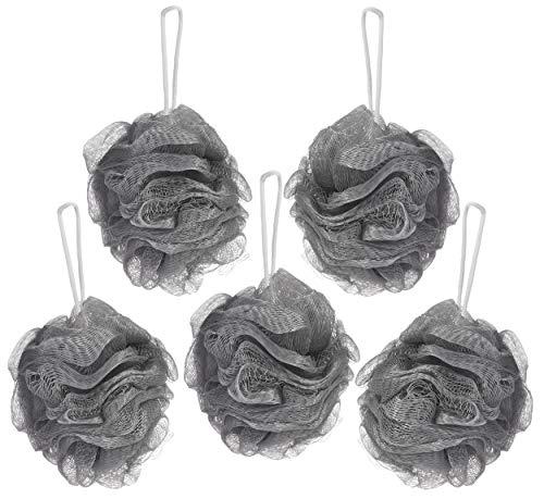 BRUBAKER Cosmetics – Fleur de bain & douche – Lot de 5 – Éponge exfoliante – Qualité supérieure – Nylon – Argent