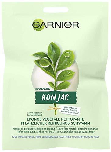 Garnier Bio – Éponge Konjac Nettoyante et Exfoliante – 100% Végétale – Pour Tous Types de Peaux