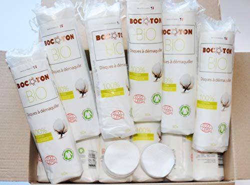 Lot 2400 disques démaquillants 100% coton biologique certifiés Ecocert. Plus doux qu'un coton lavable, économique et pratique. Doux pour la peau, pour une utilisation cosmétique et de soin de la peau