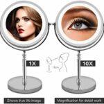SGSG Miroir de Maquillage avec lumières et ION, LED Double Face 1x / 5X Miroir cosmétique ionique à Batterie à Rotation à 360 degrés pour Femme