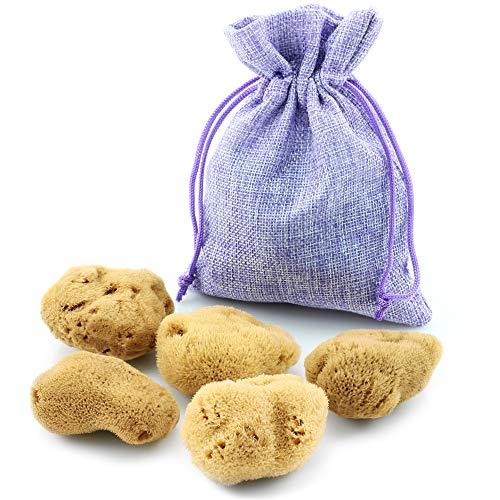 tom&pat® Éponge menstruelle – DERMATEST : EXCELLENT – avec un sac d'hygiène en jute – Éponge naturelle non blanchie : alternative aux tampons, réutilisable (5x 3-5 cm)