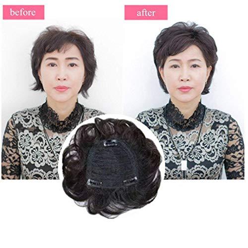 TYWZJ 5.5 'véritable Couronne de Cheveux Humains pour Pince à Cheveux Courts en postiches ondulés pour Femmes aux Cheveux clairsemés, Brun foncé