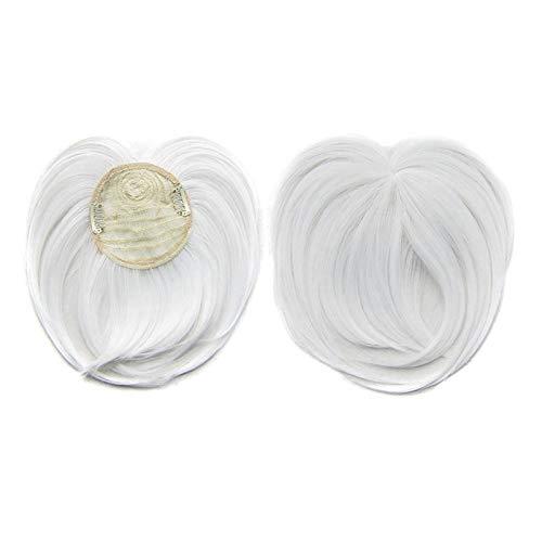YWZQ Bangs Perruque Cheveux Crowntopper sans Couture Soie-Base Cheveux Topper Frange Postiche Clip Droit dans Topper Front avec Extension de Frange Wispy