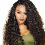 Ankamal Elec Brésilien Vague D'eau Avant de Lacet Perruques de Cheveux Humains Avant de Lacet Perruques Avec Des Cheveux De Bébé Pré Épilée Naturelle Pour Les Femmes Naturel Noir 24 Pouces