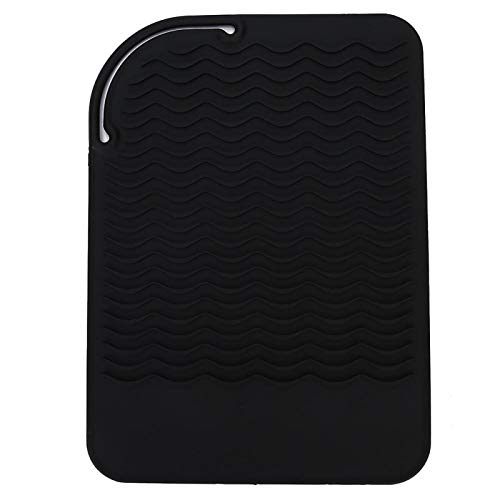 Couverture de lisseur, tapis en silicone résistant à la chaleur, enveloppe de couverture de lisseur pour cheveux, bigoudi de voyage, tapis antidérapant, tapis résistant à la chaleur fers à friser(#1)