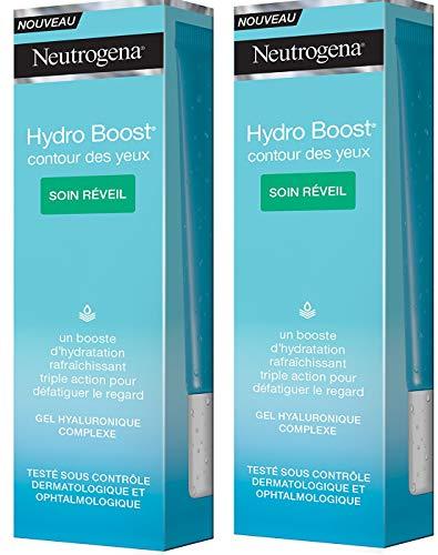 Neutrogena Hydro Boost Contour des Yeux – Soin Réveil pour une peau éclatante – Lot de 2 tubes de 15 ml