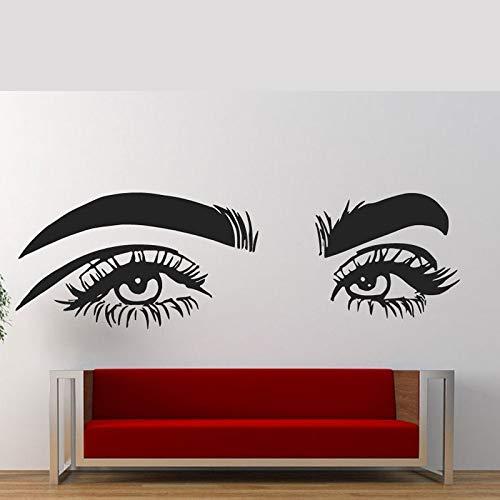 Salon de beauté cils sticker mural cils imperméables bricolage autocollant Salon de beauté femme Art cils décalcomanies A3 134×42 cm