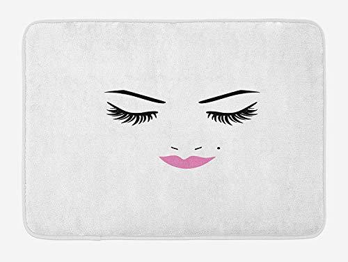 Cils Tapis De Bain, Yeux Fermés Rose Rouge À Lèvres Glamour Maquillage Cosmétiques Beauté Conception Féminine, Tapis Décor De Salle De Bains En Peluche avec Dos Antidérapant, Fuchsia Noir Blanc