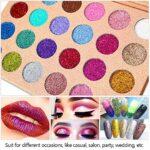 DE'LANCI Glitter Powder Maquillage Palette Professionnel-Longue Ombre à paupières Palette-Eyes Maquillage Glitter Highly Pigmented Mineral Presser Glitter (24 couleurs)