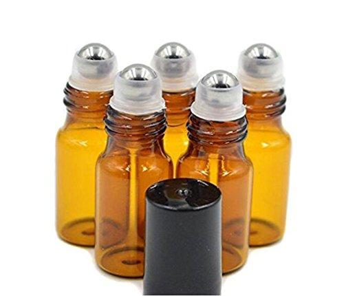 Lot De 24 Flacons De Verre Ambré Rechargeables Avec Roll-On Bouchons Noirs Pour Huiles Essentielles Parfums D'aromathérapie Baumes À Lèvres Brillants