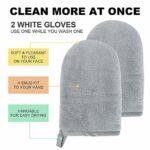 Microfibre Demaquillante,Czoele Gant démaquillant Remover Cloth Face Towel,Gants Doux et hypoallergénique pour fille, Lavable et Réutilisable, enlève tout maquillage,gris