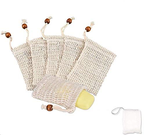 SIISMI 7X sac à savon, Sac à Savon en sisal naturel sachet à savon, Soins de la peau de bain Accessoires, (6 Sisal et 1 Nylon)