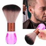 Brosse à poussière de cou en fibre douce portable, brosse de balayage de nettoyage de la poussière Brosse de coiffeur à poils doux ultra doux Brosse d'épilation à la poussière de cheveux Brosse(Rose)