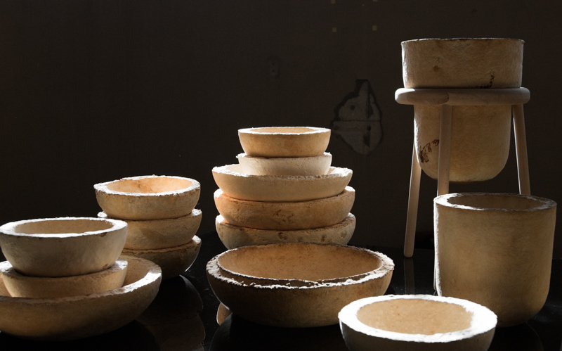 The Growing Lab - Mycelia ©Officina Corpuscoli | Maurizio Montalti - mycelium vessels overview6 bowls stack