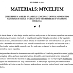 Press Article // A/D/O Journal – Article & Interview about Officina Corpuscoli & Mogu and Mycelium Materials