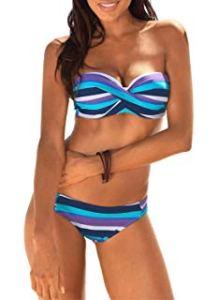 Aleumdr Sexy Costume da Bagno Donna Tie Dye Costume Donna Due Pezzi Bandeau Set Bikini Donna Push-Up