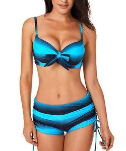 Aleumdr Donne Push Up con Pantaloncino Costumi Donna Mare Due Pezzi Tie-Dye Bikini Pantaloncino con Farfalla