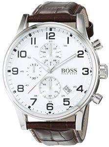 Hugo Boss Aeroliner 1512447 - Elegante cronografo da uomo con cassa in acciaio INOX e cinturino in pelle marrone