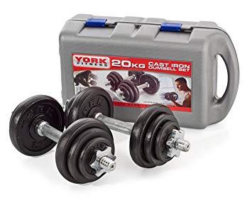 York Fitness, Set di manubri, 20 kg con foratura di 2,54 cm