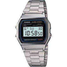 CASIO A158 - Orologio da polso, cinturino in acciaio inossidabile, orologi digitali uomo