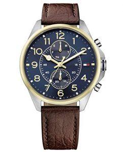 Orologio da uomo al quarzo Tommy Hilfiger 1791275, con visualizzazione multi-quadrante e cinturino in pelle.
