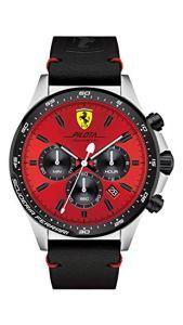 Orologio da uomo con cinturino in pelle nera, Scuderia Ferrari 0830387