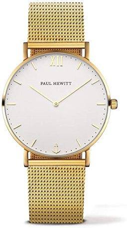 PAUL HEWITT Orologio unisex Sailor Line White Sand (donna e uomo) - Orologio da polso uomo e donna (dorato) con quadrante bianco e cinturino dorato in maglia a rete d'acciaio