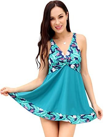 SHEKINI Bikini Imbottito Costumi da Bagno Donna Un Pezzo con Gonna Contorto Vintage Dimagrante Stampati Floreale Costume Intero Skirted Swimwear Sport Gonna da Spiaggia