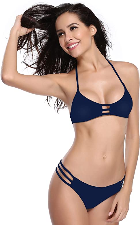 SHEKINI Donna Push-up Costumi da Bagno Mare Bikini Set Vintage Ruched Halter Neck A Vita Alta Bikini Donne Beachwear Due Pezzi Regolabile Triangolo Swimsuit