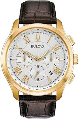 Bulova Orologio Cronografo Quarzo Uomo con Cinturino in Pelle 97B169