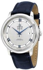 Omega de Ville co-axial automatica cronometro cinturino in pelle blu 424.13.40.20.02.003, orologi omega