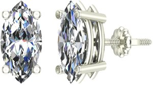 Orecchini a bottone in oro 18 carati con diamante taglio marquise (G, VS)