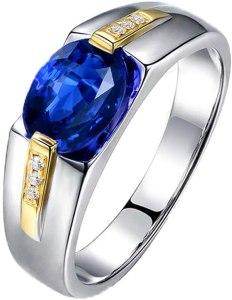 YCGEMS Anello da Fidanzamento con Zaffiro con Diamante Naturale in Oro Massiccio 18 ct, con Zaffiro da Uomo,M1/2, anelli uomo