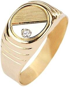Bluespirit Anello da uomo, Collezione B-CLASSIC, in oro giallo 750, zirconi - P.1303000000068, anelli uomo