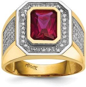 Diamond2Deal - Anello da uomo in oro giallo 14 kt con zirconia cubica e zirconia cubica rossa taglio smeraldo, anelli uomo