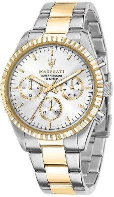 Maserati Orologio da uomo, Collezione Competizione, in Acciaio, PVD Oro, con cinturino in Acciaio inossidabile - R8853100021